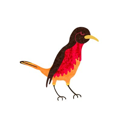 Vector colorful illustration of cute red bird on a branch. Can be used for childish t-shirt print, textile print, cloth, baby wear, kids room decoration, invitation, greeting card, and posters