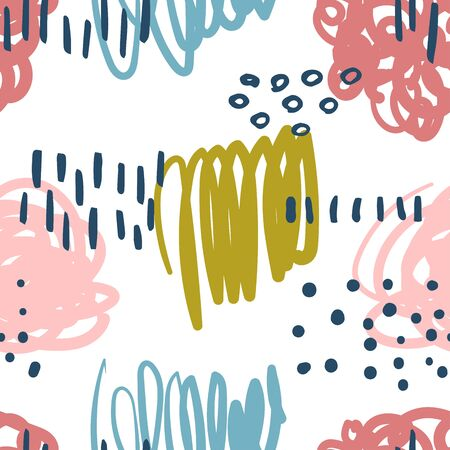 Vector modern seamless pattern with colorful hand draw abstract elements, doodles. Can be used for wallpaper, pattern fills, web page, surface textures, textile print, wrapping paper, presentation