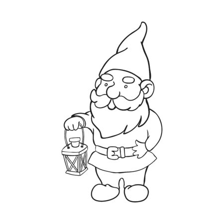 Vektorentwurfsillustration des Gartenzwergs mit dem Halten der Laterne. Süße Märchenfigur