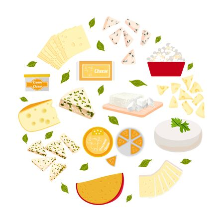 Vector colorful illustration set of different type cheeses.