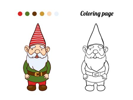 Illustration of cute garden gnome. Coloring page or book for baby