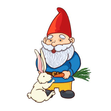 Vector colorful illustration of garden gnome feed the rabbit. Cute fairytale character