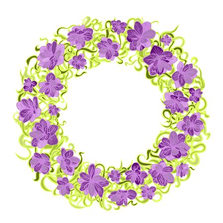 Colorful illustration of floral wreath. Hand draw frame. Can be used for invitation, greeting card and poster
