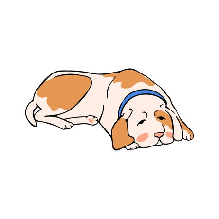 Vector colorful illustration dog lies, waiting for the owner. Can be used for postcard, banner, t-shirt print, invitation, greeting card, poster