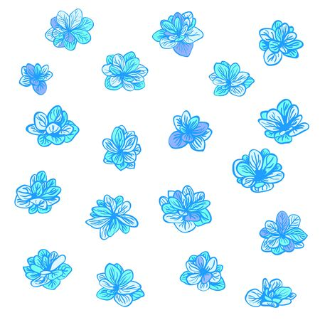 Vector colorful set with blue spring flowers. Clip-art elements for postcard, banner, t-shirt print, invitation, greeting card, poster