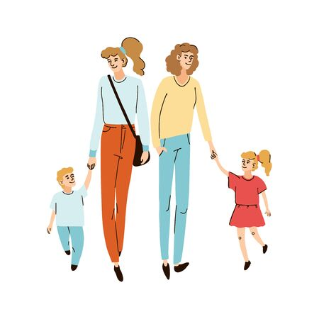 Vector colorful illustration of a two young friends moms walking together with their children on the street, isolated on white background