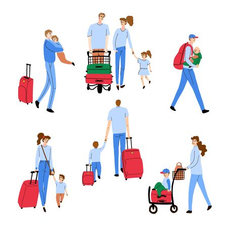 Vector olorful set with illustrations of people walking children and luggage