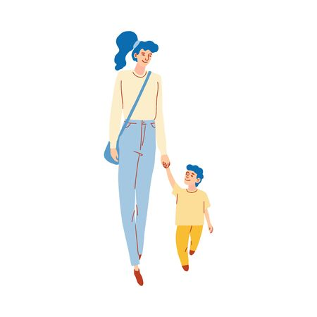 Vector colorful illustration of mom walking with son isolated on white background Ilustração