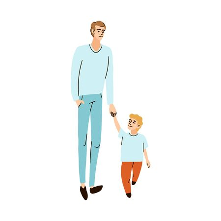 Vector colorful illustration of father and son walk hand in hand isolated on white background Stock Illustratie