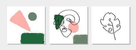 Vector set of modern posters with illustration of portrait and tropical leaf one line. Scandinavian Style. For wallpaper, textile print, greeting card template, social media post,