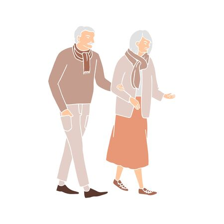 Vector colorful illustration of old people walking and talking, isolated on white background