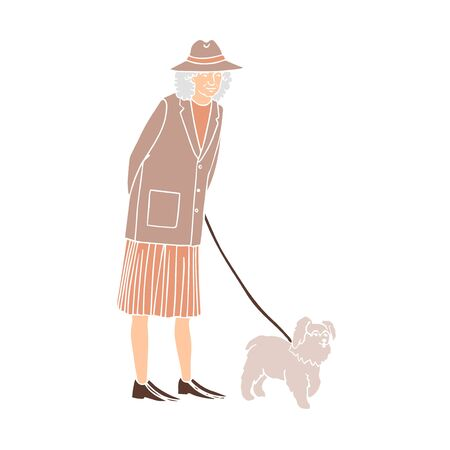Vector colorful illustration of old woman walking with dog isolated on white background