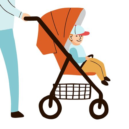 Vector colorful illustration baby boy sits on baby stroller
