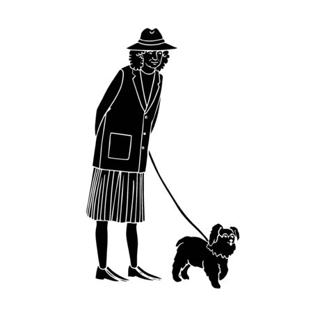 Vector illustration of black silhouette old woman walking with dog isolated on white background