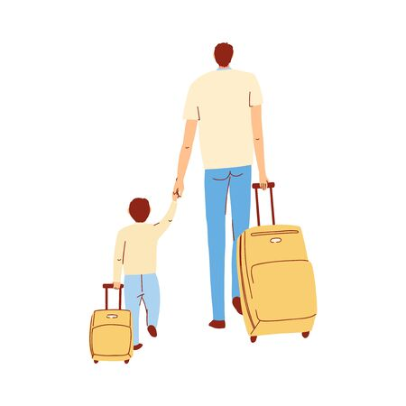 Vector colorful illustration of father and son walk hand in hand with their suitcases