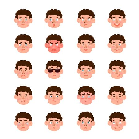 Vector modern set with cute illustrations of boys with different emotions. Use it as element for design greeting card, poster, chat messenger cartoon emotes, Social Media post, children game design