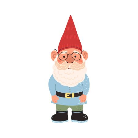 Vector colorful illustration of garden gnome isolated on white background. Cute fairytale character