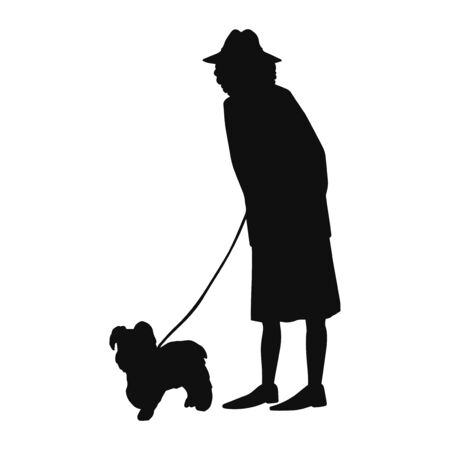 Vector illustration of black silhouette old woman walking with dog isolated on white background Zdjęcie Seryjne - 146747309