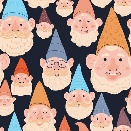 Vector modern seamless pattern with colorful illustrations of garden gnome. Use it for wallpaper, textile print, pattern fills, web page, surface textures, wrapping paper, design of presentation Illustration
