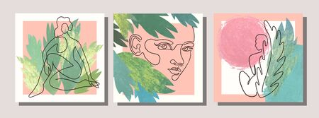 Vector set of collage modern poster with abstract shapes, exotic leaves and one line illustrations of womens. Use it as textile print, greeting card template, social media post, banner, invitation