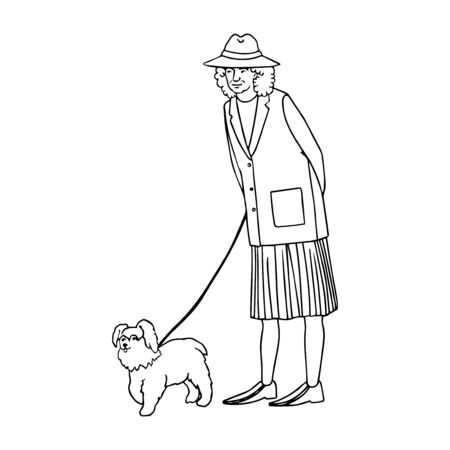 Vector outline illustration of old woman walking with dog isolated on white background