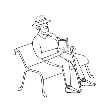 Vector outline illustration of cute old man sitting on a park bench reading a book. Isolated on white background Illustration
