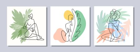 Vector set of collage modern poster with abstract shapes, exotic leaves and one line illustrations of women body. Use it as textile print, greeting card template, social media post, banner, invitation