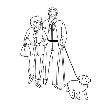 Vector outline illustration of old people walking with dog, isolated on white background Stock fotó - 149350458