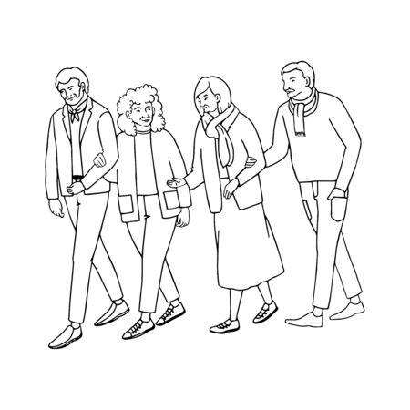 Vector outline illustration of old people walking isolated on white background Illusztráció