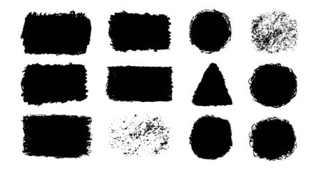 Vector set with black pastel paint spot isolated on white background, texture hand drawn illustration. Use it as element for design greeting card, banner, Social Media post, invitation, graphic design