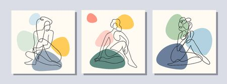 Vector set of collage modern poster with abstract shapes and one line illustrations of women body. For posters, textile print, greeting card template, social media post, banner, invitation, brochure Çizim
