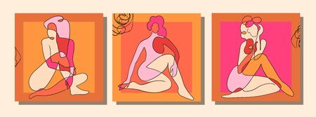 Vector set of collage modern poster with abstract shapes and one line illustrations of women body. For posters, textile print, greeting card template, social media post, banner, invitation, brochure Illustration