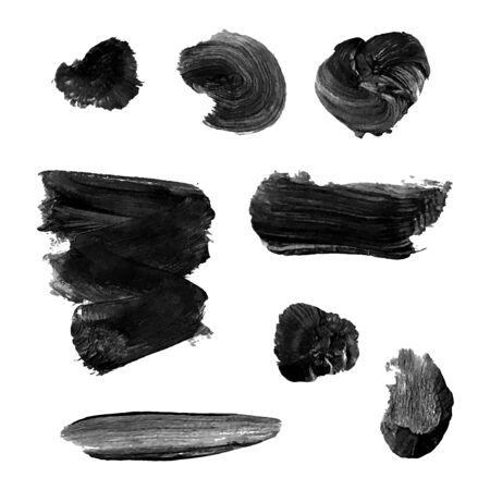 Vector set with black oil paint spot isolated on white background, texture hand drawn illustration. Use it as element for design greeting card, banner, Social Media post, invitation, graphic design