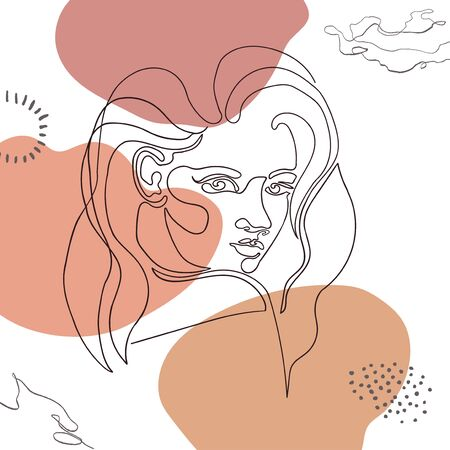 Vector outline illustration of woman on abstract background with blob shapes. One line . Greeting card, poster, banner, social media post, fashion print, invitation, brochure Illusztráció
