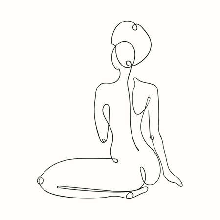 Vector outline black and white illustration of woman body. One line drawing isolated on white background. Use it for design card, poster, banner, social Media post, fashion print, beaty salon