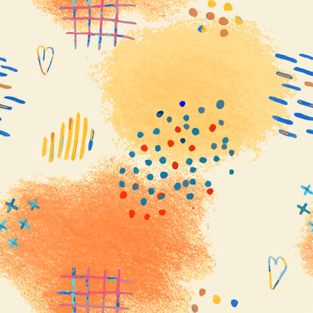 Vector modern seamless background with colorful hand drawn abstract pencil spots, doodles. Use it for wallpaper, textile print, pattern fills, surface texture, wrapping paper, design of presentation