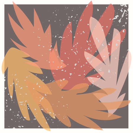Vector collage modern poster with illustration of exotic palm tree leaves. Scandinavian Style. For posters, textile print, wrapping paper, greeting card template, social media post