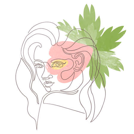 Vector outline illustration of woman gace on abstract floral background. One line drawing. Use it as greeting card, poster, banner, social media post, fashion print, invitation, sale, brochure