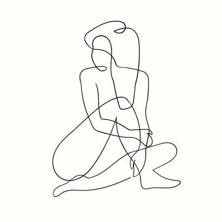 Vector outline black and white illustration of woman body. One line drawing isolated on white background. Use it for design card, poster, banner, social Media post, fashion print, beaty salon logo Logo