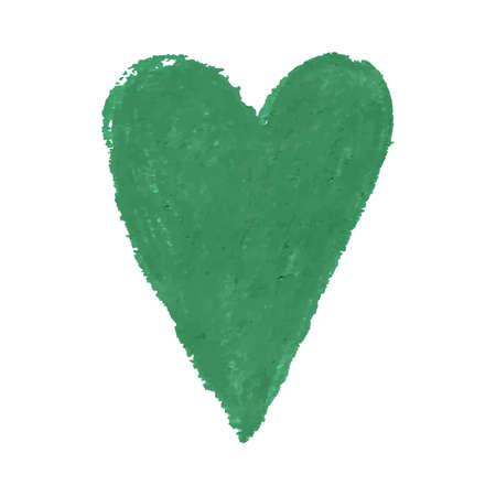 Vector colorful illustration of heart shape drawn with green colored chalk pastels. Elements for design greeting card, poster, banner, Social Media post, invitation, sale, brochure, other graphic design