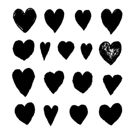 Vector set with black illustrations of heart shape drawn with chalk pastels, textured hand drawn illustration. Use it as element for design greeting card, banner, Social Media post, invitation