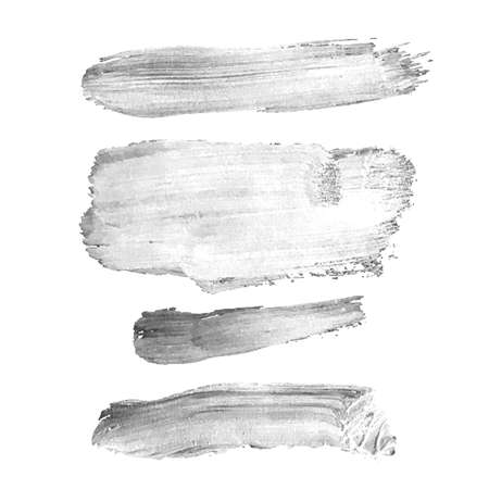 Vector set with gray oil paint spot isolated on white background, texture hand drawn illustration. Use it as element for design greeting card, banner, Social Media post, invitation, graphic design 일러스트