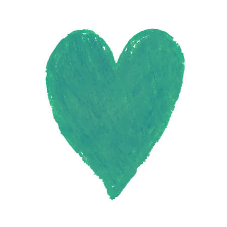Vector colorful illustration of heart shape drawn with green colored chalk pastels. Elements for design greeting card, poster, banner, Social Media post, invitation, sale, brochure, other graphic design Vettoriali