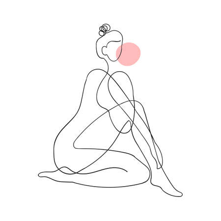 Vector outline black and white illustration of woman body. One line drawing isolated on white background. Use it for design card, poster, banner, social Media post, fashion print, beaty salon Vettoriali