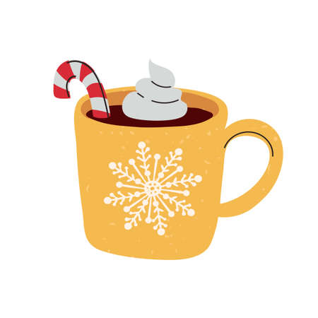 Vector colorful illustration of Christmas mug with cocoa isolated on white background