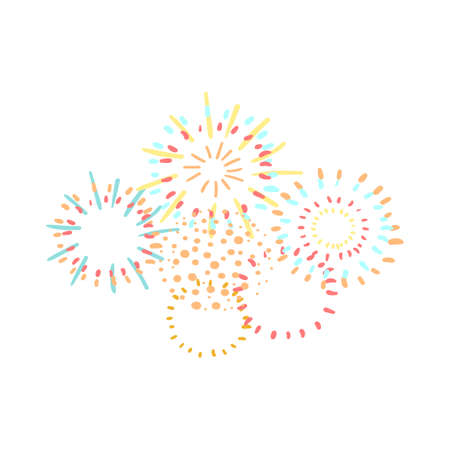 Vector colorful illustration of Fireworks isolated on white background Illustration