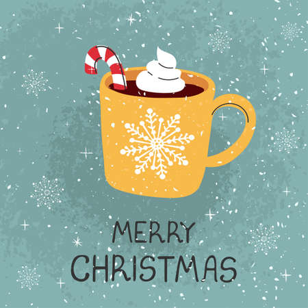 Vector modern greeting card with colorful hand draw illustration of mug with cocoa and Christmas cane. Merry christmas. For design poster, card, banner, t-shirt print, invitation, greeting card