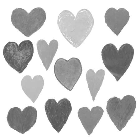 Vector set with black and white illustrations of heart shape drawn with chalk pastels, textured hand drawn illustration. Use it for design greeting card, banner, Social Media post, invitation Illustration