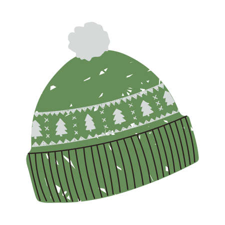 Vector colorful illustration of winter hat with Christmas pattern with Christmas tree isolated on white background Illusztráció