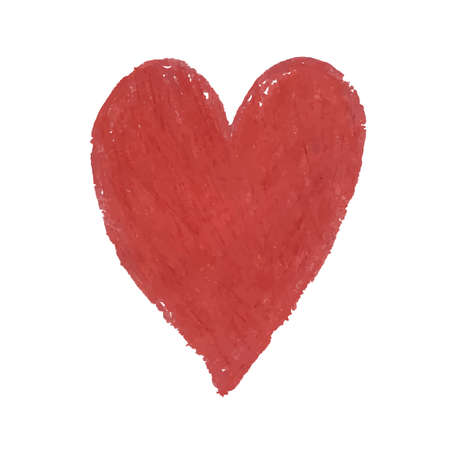 Vector colorful illustration of heart shape drawn with red colored chalk pastels. Elements for design greeting card, poster, banner, Social Media post, invitation, sale, brochure, other graphic design